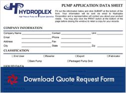 Hydroplex Pumps Quote Request