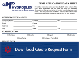 Hydroplex Pumps Quote Request